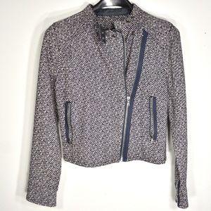 Gap Navy Wool Blazer Asymmetric Zipper XS